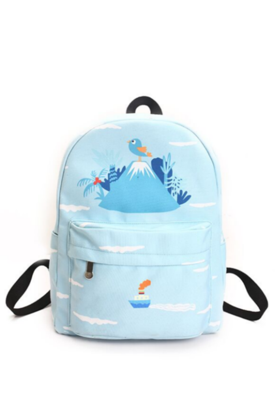 cad381f2b7 Sky Blue Bird Prints Backpack. Tap to expand