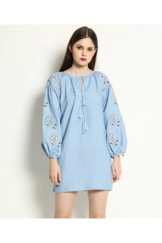 Blue Floral Embroidered Lantern Long Sleeve Dress