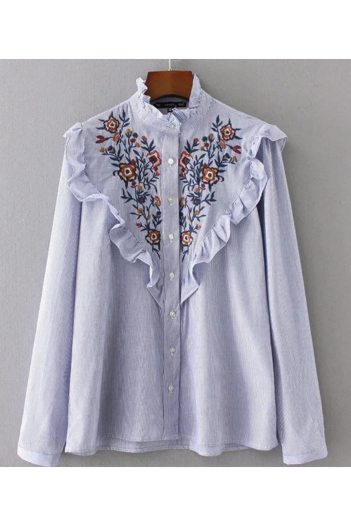 Embroidered Ruffle Blouse