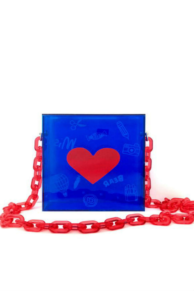 Blue Arylic Heart Chain Bag