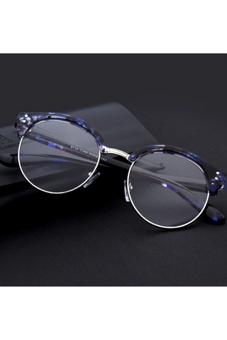 Blue Mixed Round Frame Glasses