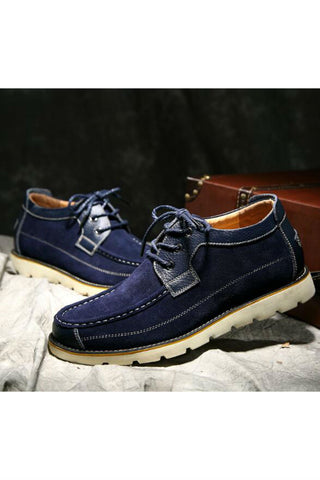 Men High Top Suede Leather Shoes In Blue