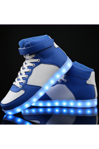 Unisex Blue White LED Light Lace Up Luminous Sneaker