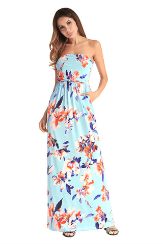 Floral Strapless Maxi Dress