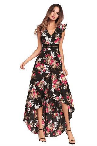Lace Floral Irregular Maxi Dress