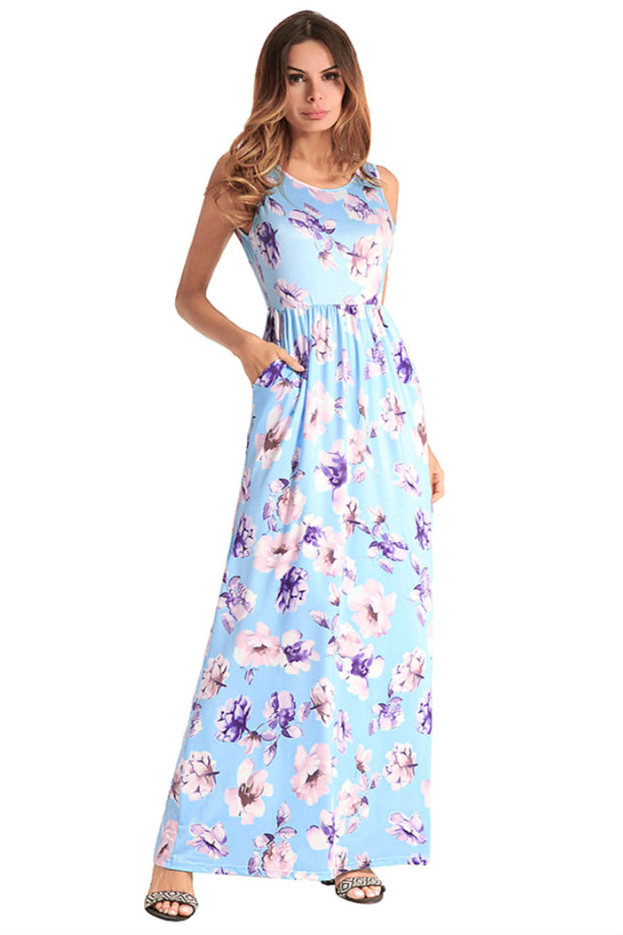 Blue Floral Sleeveless Maxi Dress
