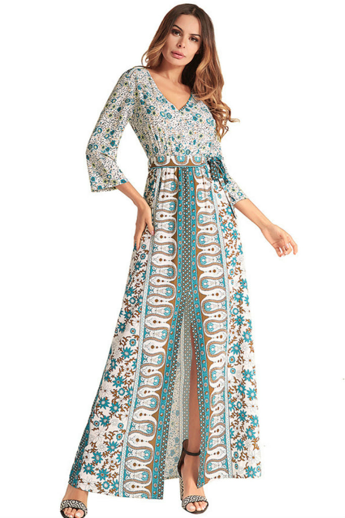 Ethnic V-neck Floral Boho Dress