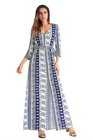 Deep V-neck Boho Long Sleeve Dress