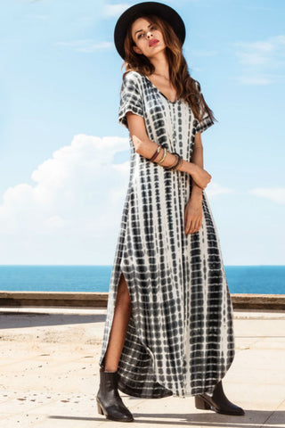 V Neck Tie Dye Maxi Dress