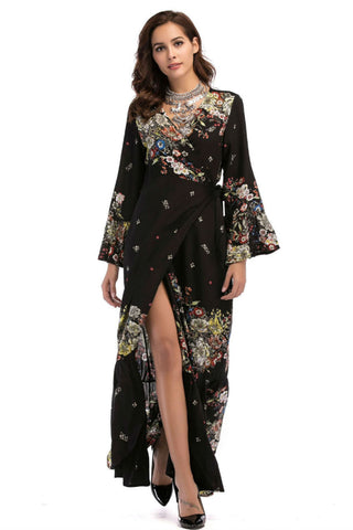 Bell Sleeve Black Floral Dress