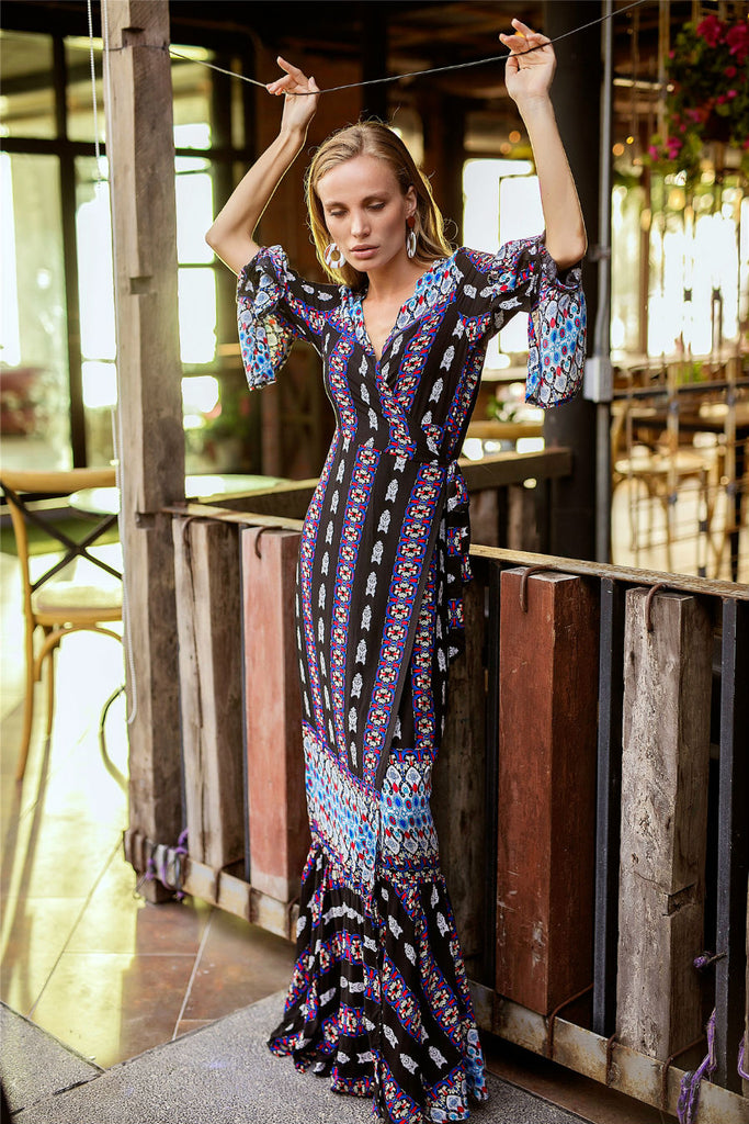 Boho Long Sleeve Floral Dress