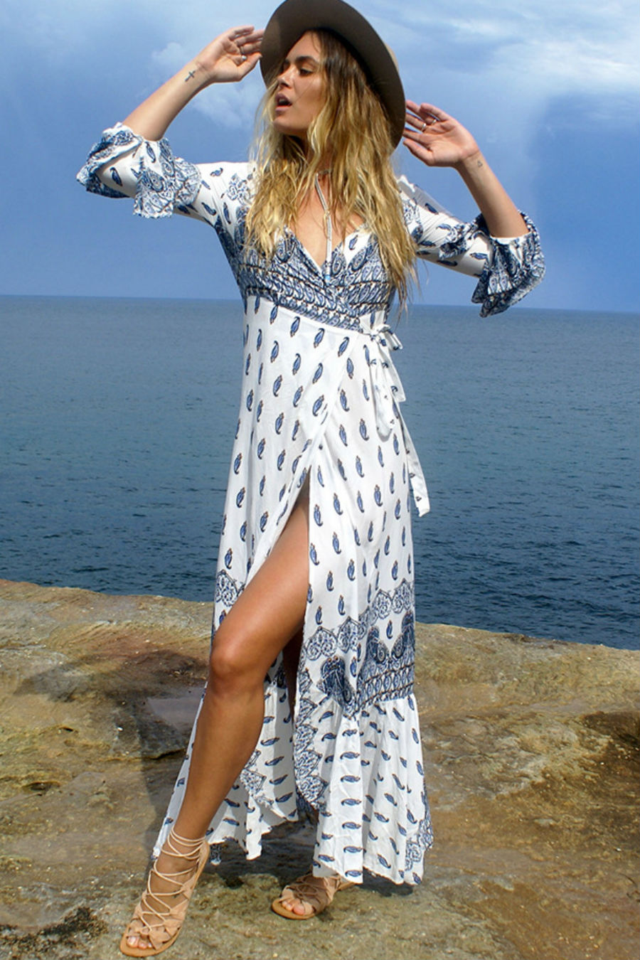 White Paisley Bohemian Dress
