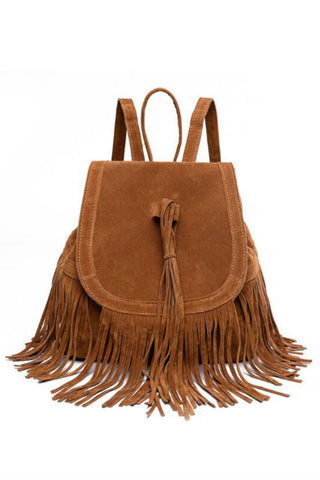 Suede Leather Tassel Backpack