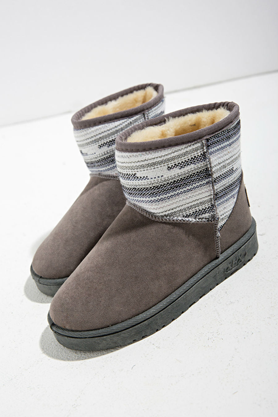 Gray Ethnic Snow Boots