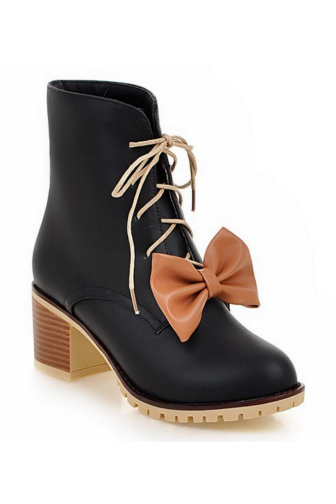 Bowknot Heeled Booties In Black