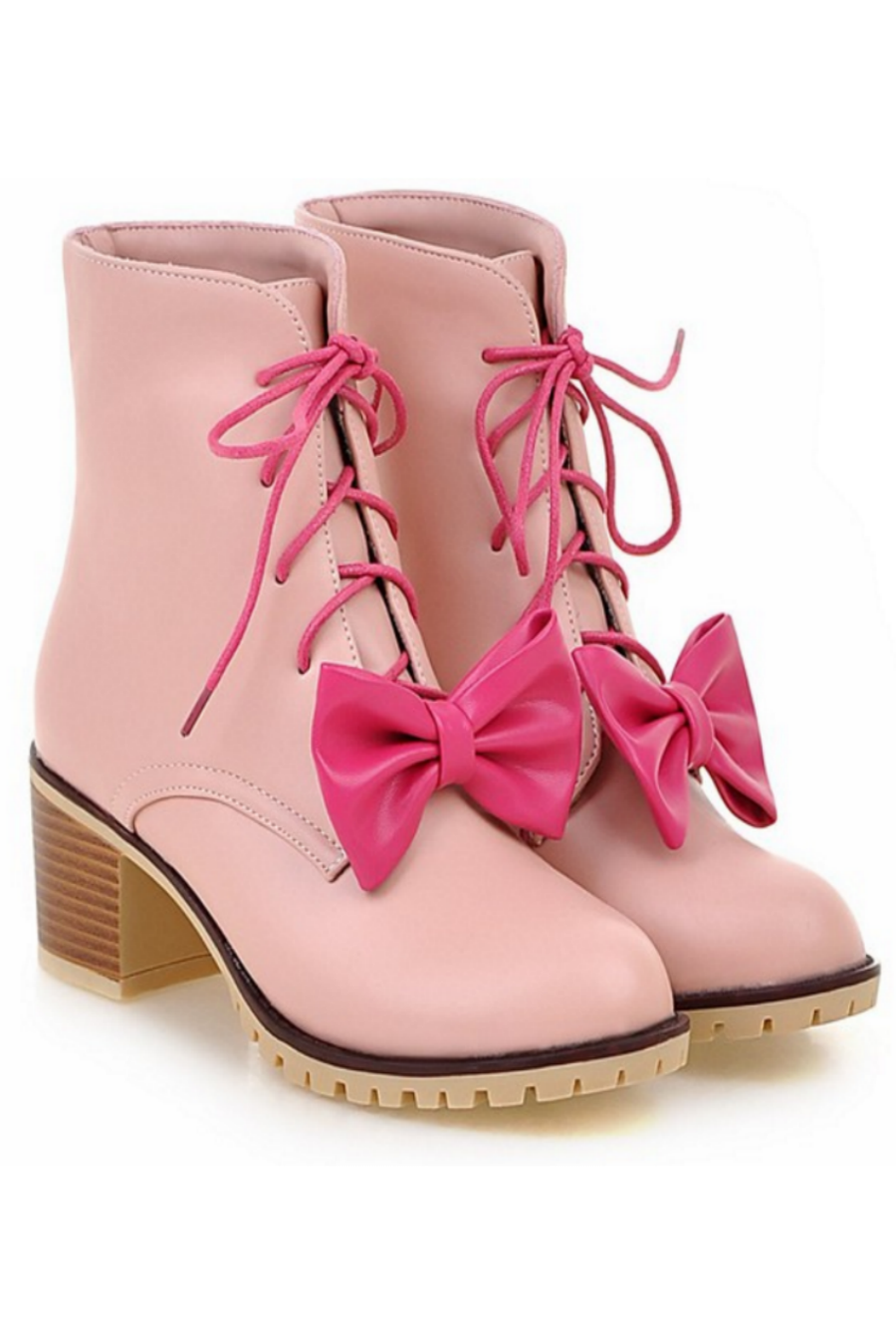 Bowknot Heeled Booties In Pink