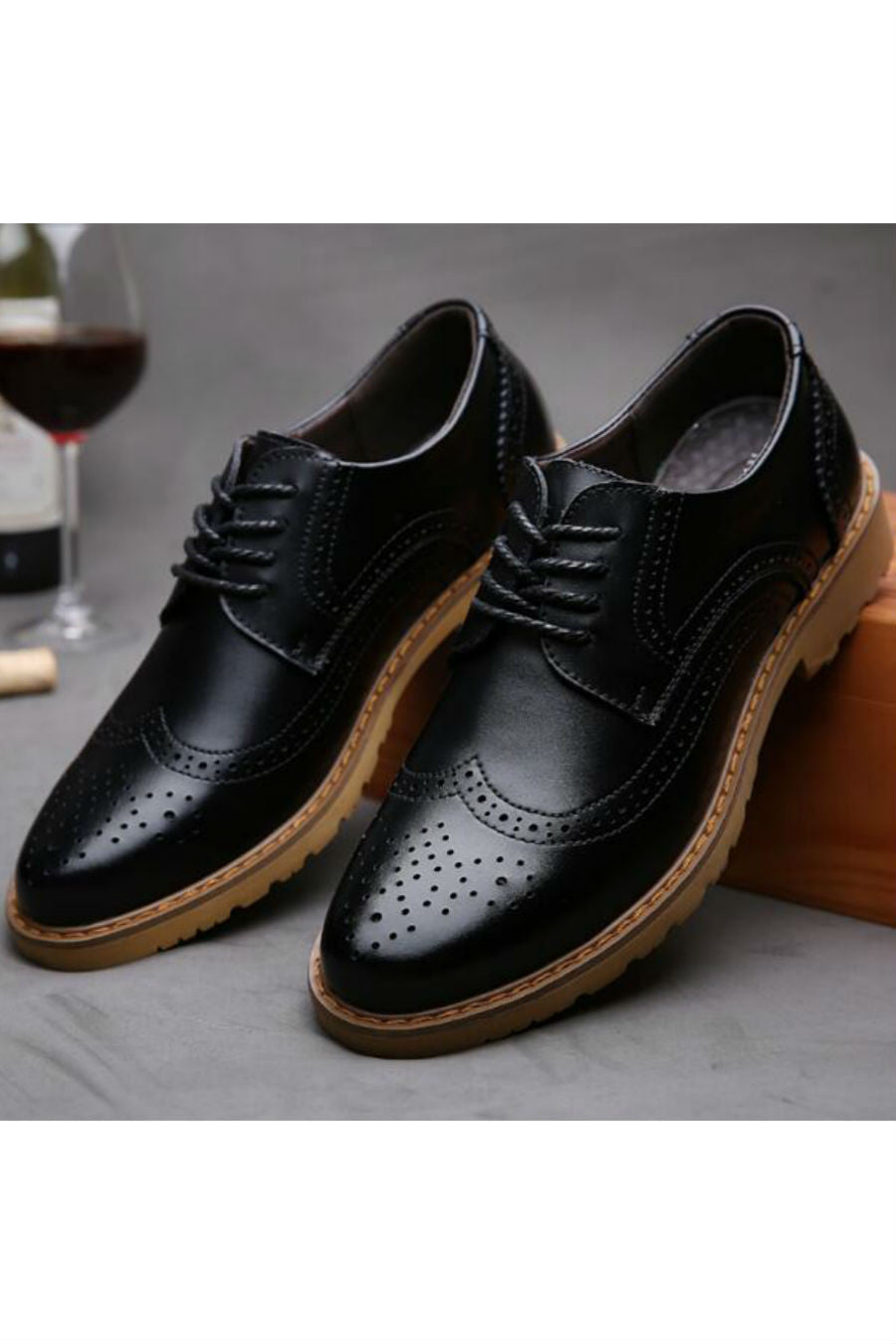 Black Lace Up Brogue Shoes