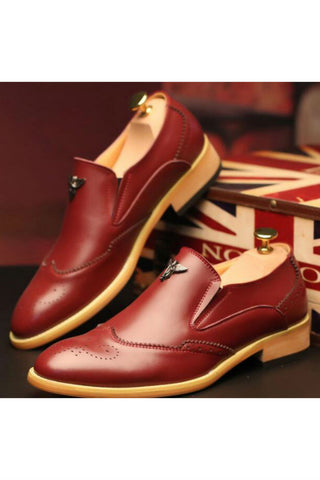 Burgundy Brogue Dress Loafers