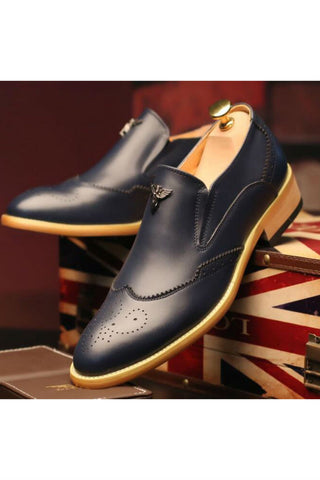 Navy Brogue Dress Loafers