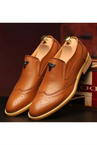 Brogue Dress Loafers Shoes In Brown