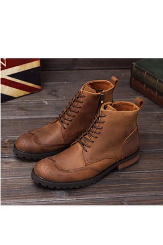 Brogue Lace Up Martin Boots In Light Brown