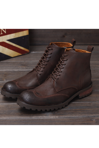 Brogue Lace Up Martin Boots In Dark Brown
