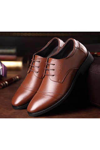 Men Business Dress Formal Leather Shoes In Brown