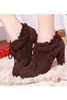 Frilled Heeled Shoes In Brown