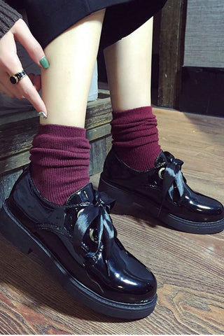 Black Patent College Shoes