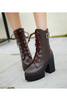 Block Heel Lace Up Boots In Brown