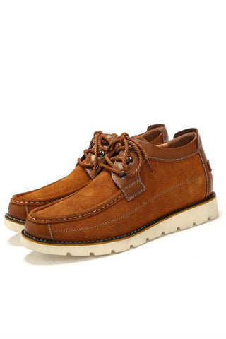 Men High Top Suede Leather Shoes In Brown