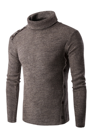 Casual Slim Fit Solid Turtleneck Sweater In Brown