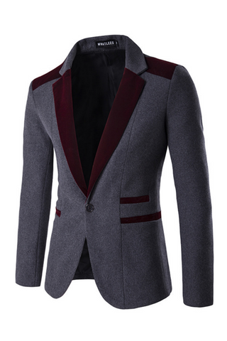 Elegant Burgundy Gray Hit Color Blazer