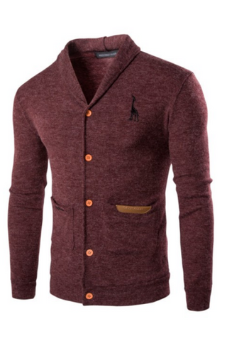 Button Up Lapel Knit Cardigan In Burgundy