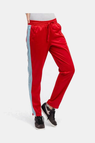 Side Buttons Casual Pants In Red