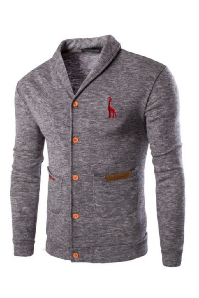 Lapel Knit Gray Cardigan