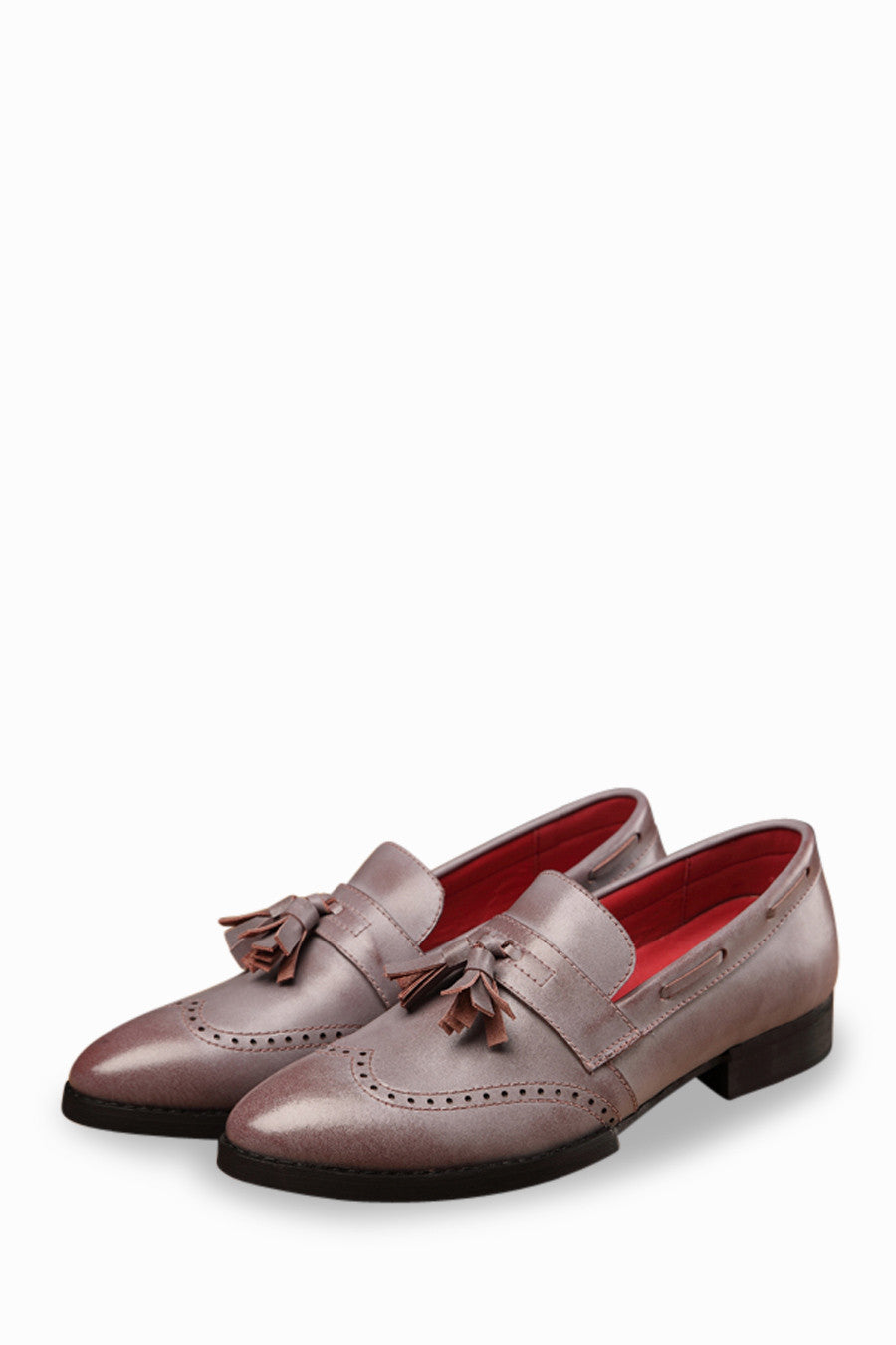 Men's Genuine Leather Brogue Wingtip Shoes In Purple