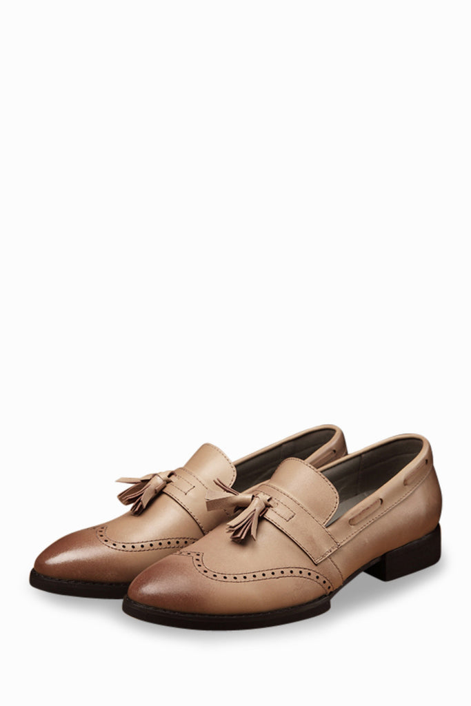 Men's Genuine Leather Brogue Wingtip Shoes In Tan