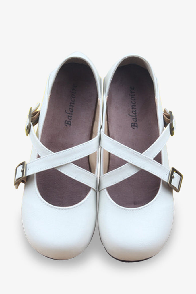 Straps Cute Flats In White
