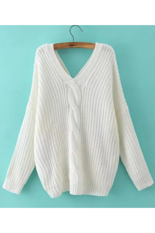 Cable Button Back Sweater