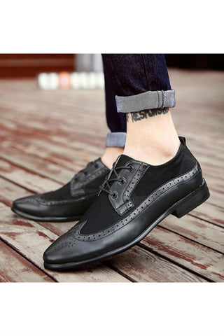 Leather Brogue Shoes In Black
