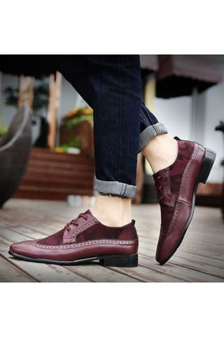 Leather Brogue Shoes In Burgundy