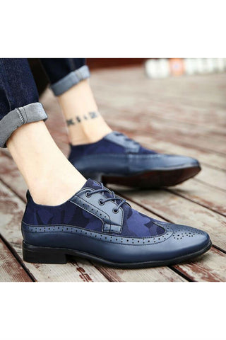 Leather Brogue Shoes In Navy