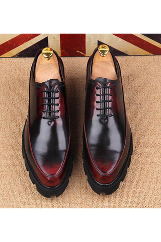 Cap Toe Oxford Shoes In Burgundy