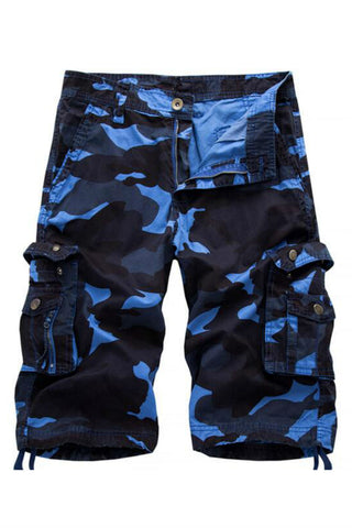 Casual Blue Camo Cargo Summer Shorts