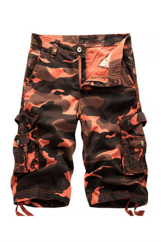 Casual Orange Camo Cargo Summer Shorts