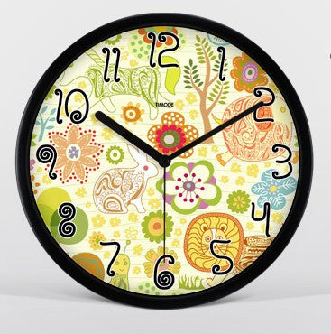 Cartoon Art Wall Clock In Black