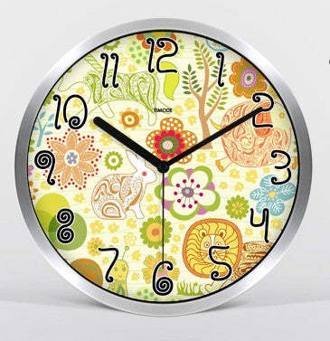 Cartoon Art Wall Clock In Silver Satin