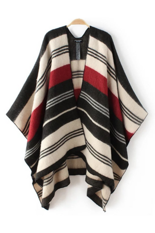 Vintage Striped Poncho Cape