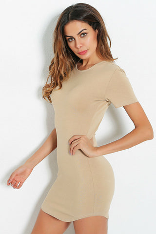 Sexy Mini Beige Dress